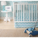 New Arrivals Zig Zag Aqua 4 Piece Baby Crib Bedding Set