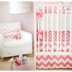 New Arrivals Zig Zag Hot Pink 2 Piece Baby Crib Bedding Set