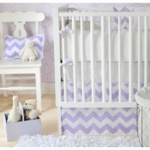 New Arrivals Zig Zag Lavender 3 Piece Baby Crib Bedding Set