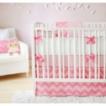 New Arrivals Zig Zag Pink Sugar 3 Piece Baby Crib Bedding Set