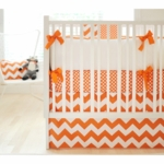 New Arrivals Zig Zag Tangerine 2 Piece Baby Crib Bedding Set