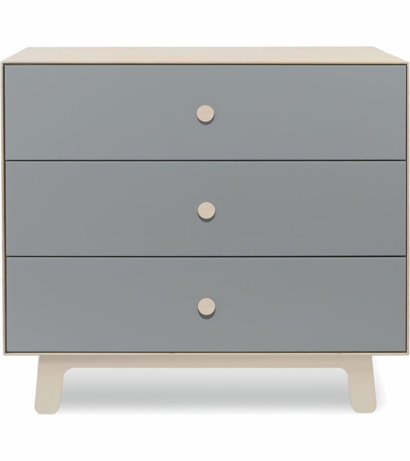 . Oeuf Merlin 3 Drawer Dresser with Sparrow Base in Grey