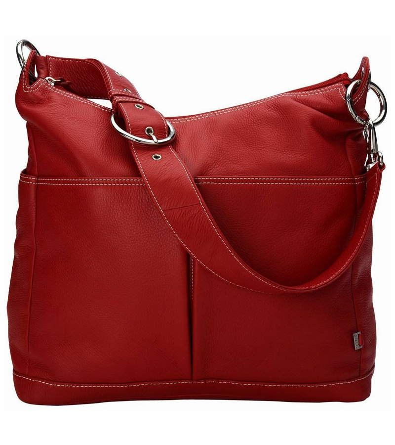 oioi pompeian red leather two pocket hobo diaper bag. Black Bedroom Furniture Sets. Home Design Ideas