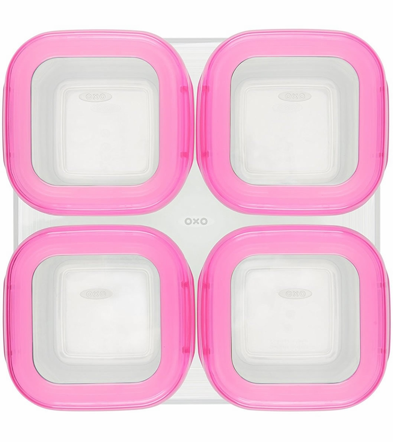 OXO Tot Baby Blocks Freezer Storage Containers 4 oz Pink
