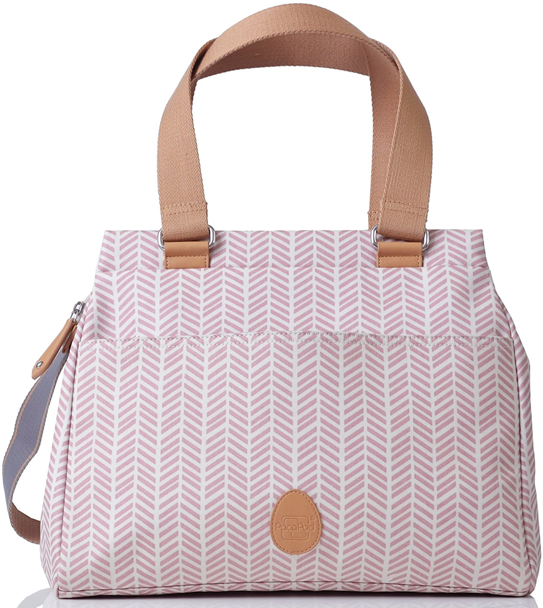 PacaPod Richmond Diaper Bag - Dusty Pink Herringbone