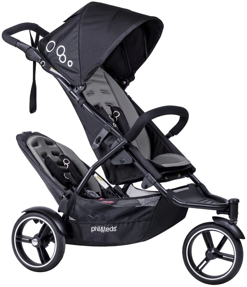 Phil & Teds Dot Stroller With Double Kit In Graphite Grey