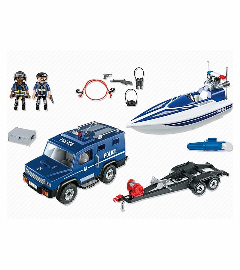 playmobil police truck with speedboat - Playmobile Police