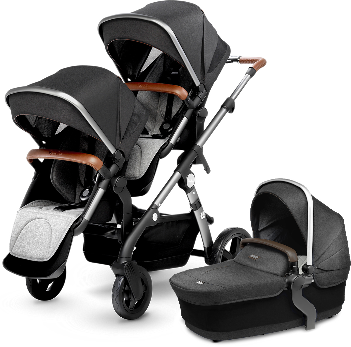 Silver Cross Wave Double Stroller - Granite
