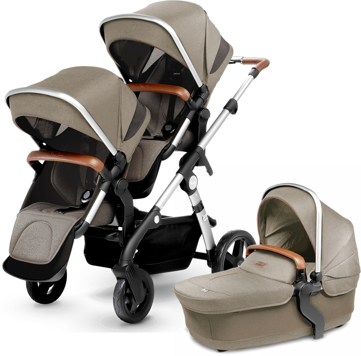 Silver Cross Wave Double Stroller - Linen