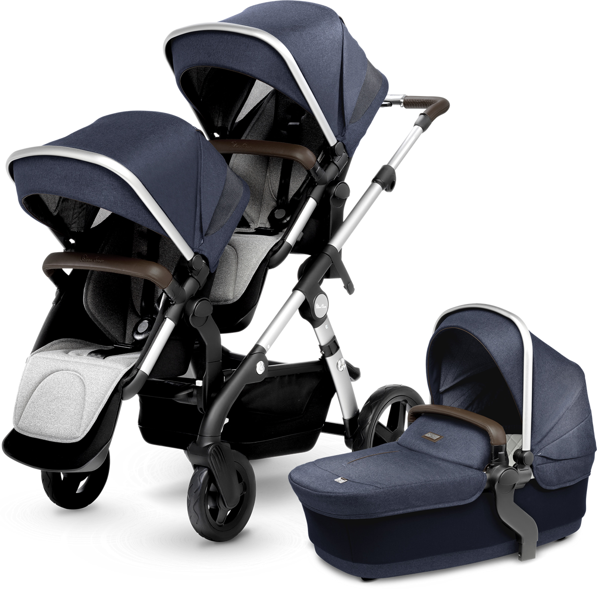 Silver Cross Wave Double Stroller - Midnight Blue