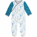 Skip Hop ABC-123 Side Snap Footie - Blue (3 Months)