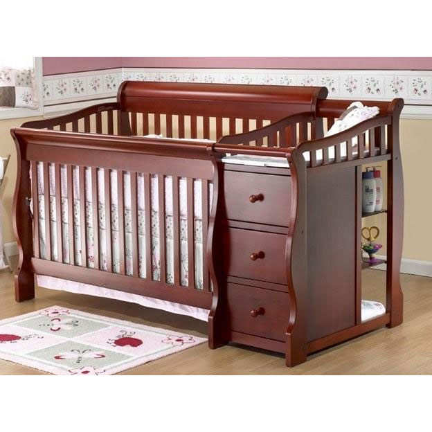 Sorelle tuscany 4 in 1 convertible crib combo in cherry Baby crib with changing table