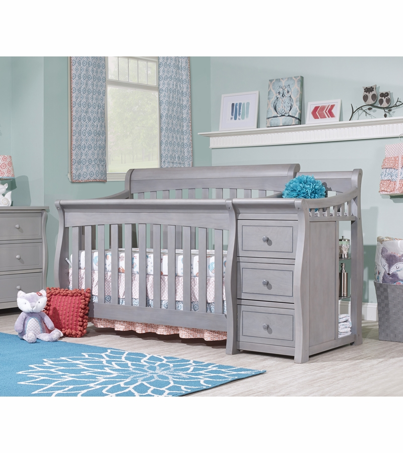 Sorelle Tuscany 4 in 1 Convertible Crib Combo in Weathered Gray