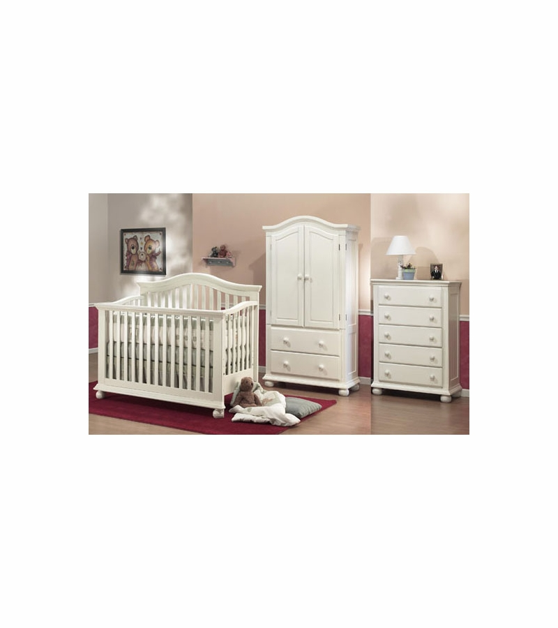 Sorelle Vista 3 Piece Nursery Set In French White   Crib, 5 Drawer Dresser  U0026 Armoire