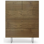 Spot On Square Alto 5 Drawer Dresser - White/Walnut