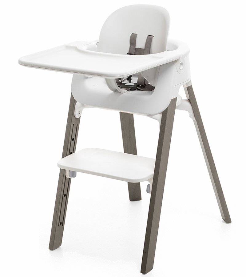 stokke steps complete high chair white hazy grey. Black Bedroom Furniture Sets. Home Design Ideas