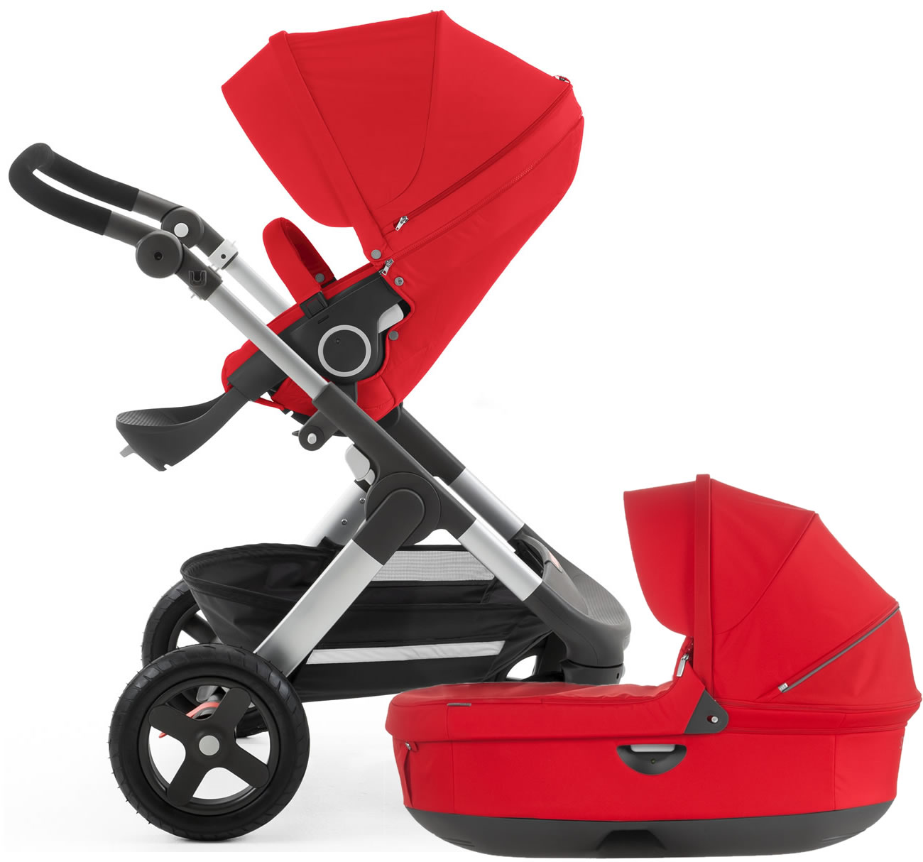 Stokke Trailz Stroller & Carrycot - Red