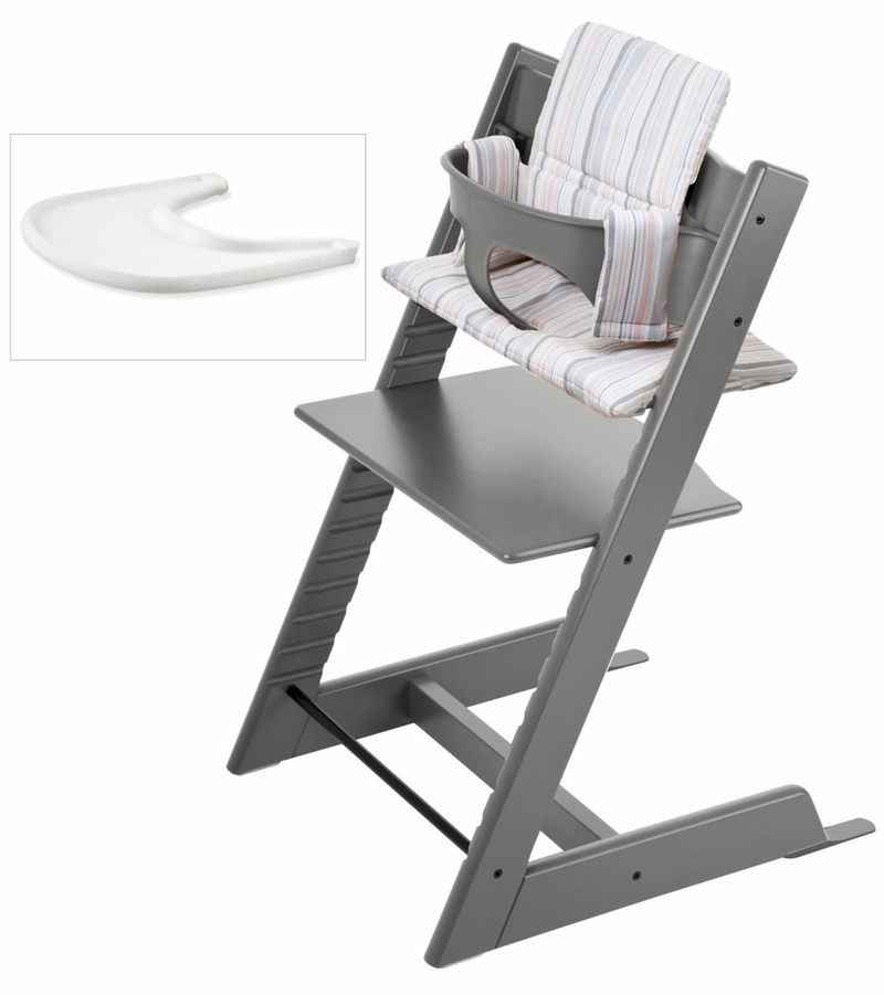 Stokke tripp trapp bundle storm grey soft stripe for Tripp trapp usato