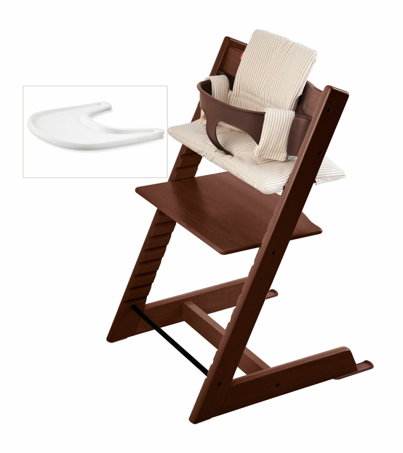 stokke tripp trapp bundle walnut beige stripe. Black Bedroom Furniture Sets. Home Design Ideas