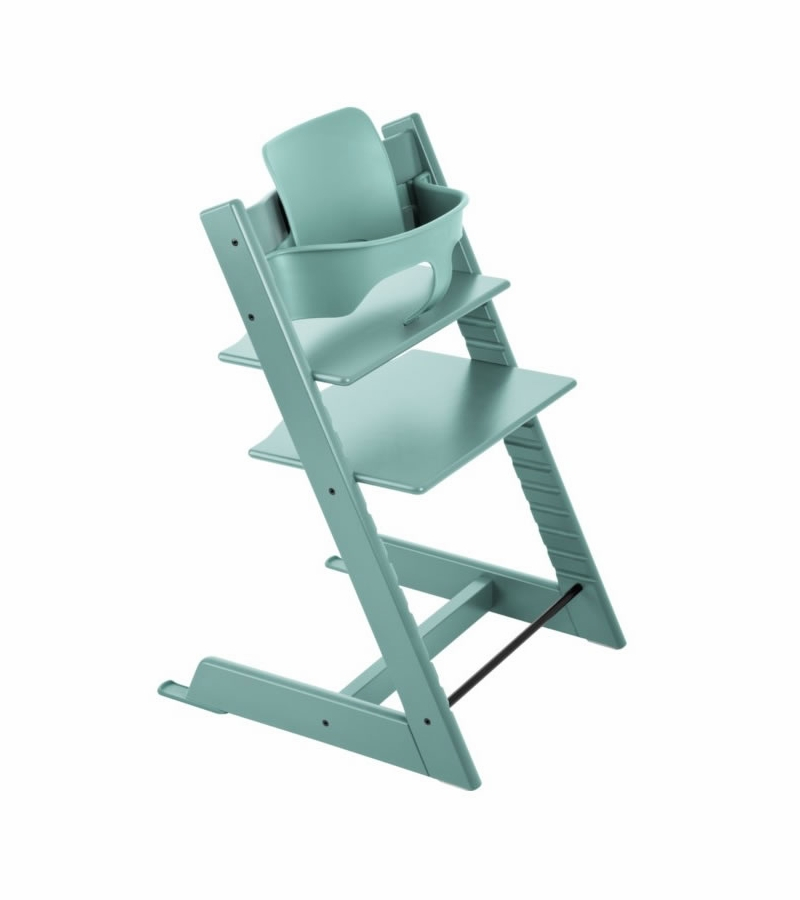 Stokke tripp trapp high chair baby set aqua blue for Chaise haute tripp trapp occasion