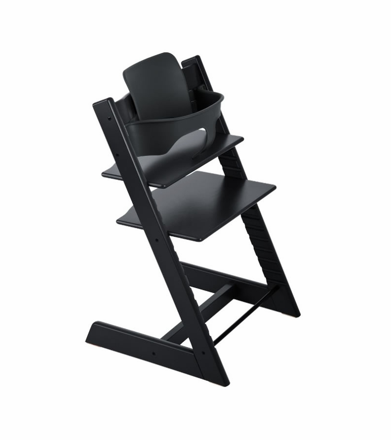 stokke tripp trapp high chair baby set black. Black Bedroom Furniture Sets. Home Design Ideas