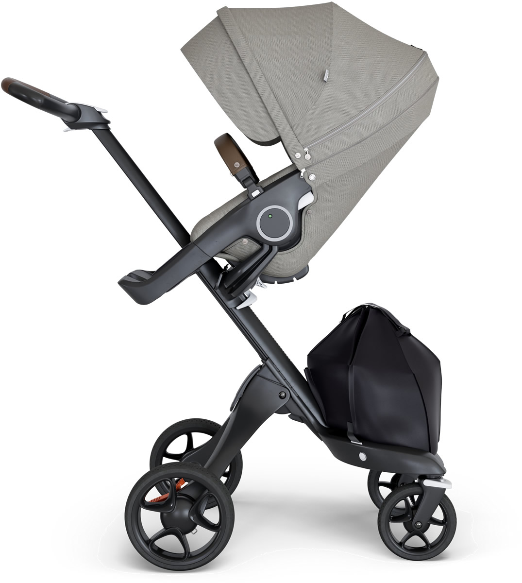 Stokke V6 Xplory Stroller - Brushed Grey/Black/Brown