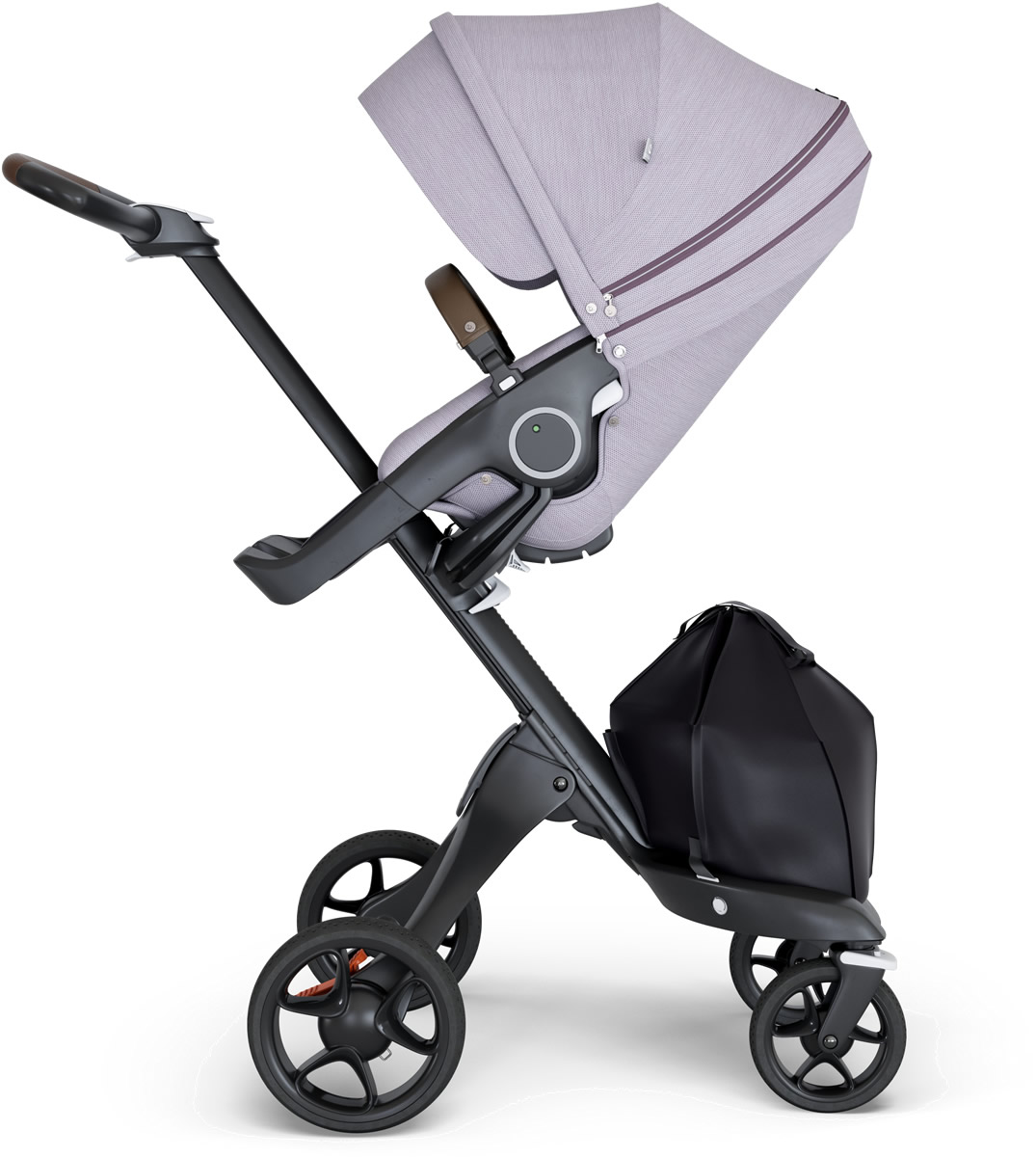 Stokke V6 Xplory Stroller - Brushed Lilac/Black/Brown