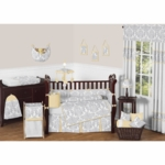 Sweet JoJo Designs Avery Gray & Yellow 9 Piece Crib Bedding Set