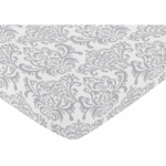 Sweet JoJo Designs Avery Gray & Yellow Crib Sheet in Damask Print