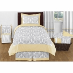 Sweet JoJo Designs Avery Gray & Yellow Twin Bedding Set