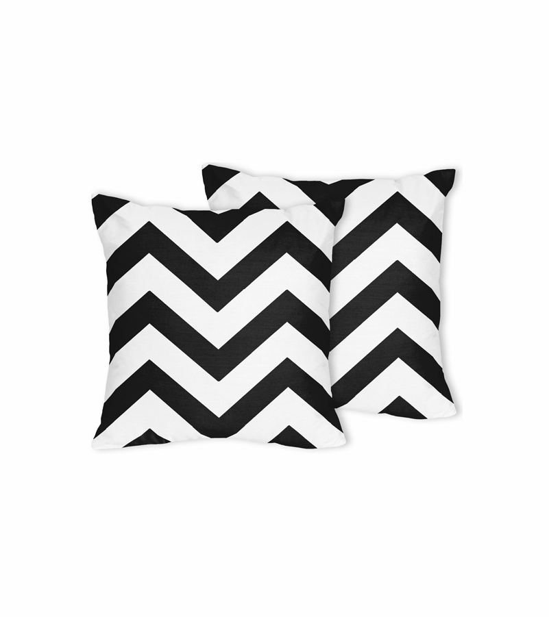 Sweet JoJo Designs Black White Chevron Decorative Throw Pillows Custom Designer Decorative Throw Pillows