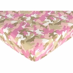 Sweet JoJo Designs Camo Pink Crib Sheet