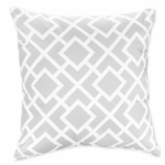 Sweet JoJo Designs Diamond Gray & White Decorative Throw Pillow