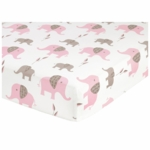 Sweet JoJo Designs Elephant Pink Crib Sheet in Elephant Print