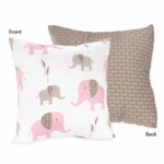 Sweet JoJo Designs Elephant Pink Decorative Throw Pillow