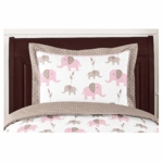 Sweet JoJo Designs Elephant Pink Pillow Sham