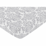Sweet JoJo Designs Elizabeth Grey & Pink Crib Sheet - Damask Print