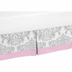 Sweet JoJo Designs Elizabeth Grey & Pink Toddler Bed Skirt