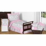 Sweet JoJo Designs Elizabeth Grey & Pink Toddler Bedding Set