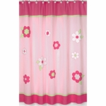 Sweet JoJo Designs Flower Pink and Green Shower Curtain