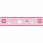 Sweet JoJo Designs Flower Pink and Green Wall Border