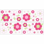 Sweet JoJo Designs Flower Pink and Green Wall Decals