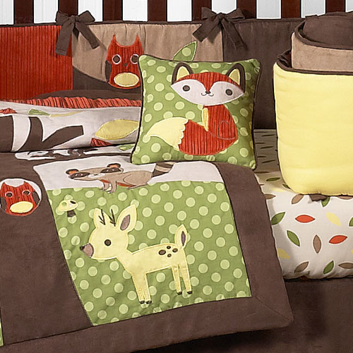 Sweet jojo designs forest friends 9 piece crib bedding set for Woods themed nursery