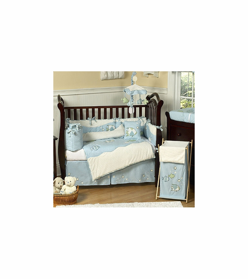 Sweet jojo designs go fish 9 piece crib bedding set for Fish crib bedding