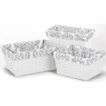 Sweet JoJo Designs Grey & Pink Basket Liners - Set of 3