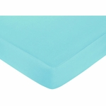 Sweet JoJo Designs Hooty Turquoise & Lime Crib Sheet - Solid Turquoise