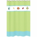 Sweet JoJo Designs Hooty Turquoise & Lime Shower Curtain