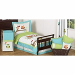 Sweet JoJo Designs Hooty Turquoise & Lime Toddler Bedding Set