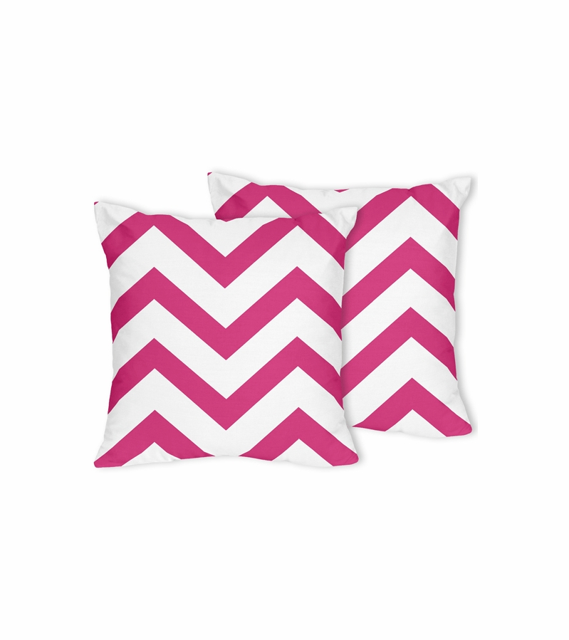 Sweet JoJo Designs Hot Pink & White Chevron Decorative Throw Pillows - Set of 2