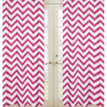 Sweet JoJo Designs Hot Pink & White Chevron Window Panels - Set of 2